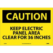 Caution, Keep Electric Panel Area Clear For 36 Inches, 10X14, Adhesive Vinyl