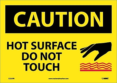 Caution, Hot Surface Do Not Touch, Graphic, 10X14, Adhesive Vinyl
