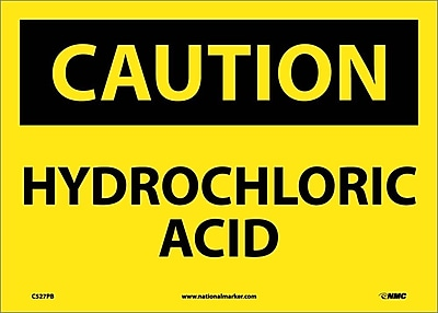 Caution, Hydrochloric Acid, 10X14, Adhesive Vinyl