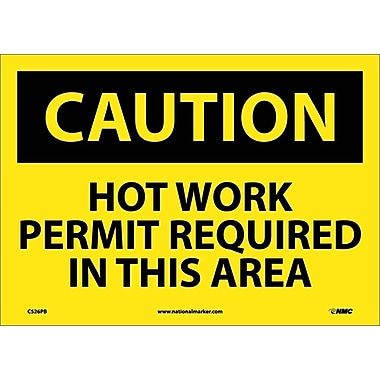 Caution, Hot Work Permit Required In This Area, 10X14, Adhesive Vinyl