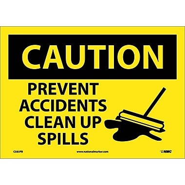 Caution, Prevent Accidents Clean Up Spills, Graphic, 10X14, Adhesive Vinyl