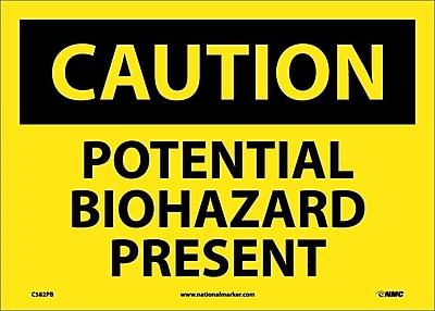 Caution, Potential Biohazard Present, 10X14, Adhesive Vinyl