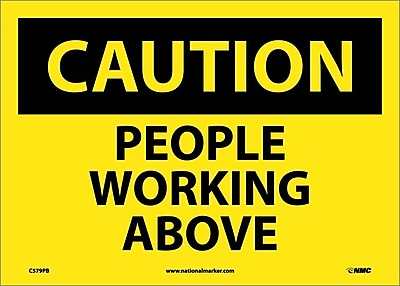 Caution, People Working Above, 10X14, Adhesive Vinyl