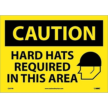 Caution, Hard Hats Required In This Area, Graphic, 10X14, Adhesive Vinyl