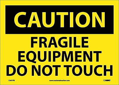 Caution, Fragile Equipment Do Not Touch, 10X14, Adhesive Vinyl