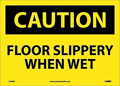 Caution, Floor Slippery When Wet, 10X14, Adhesive Vinyl