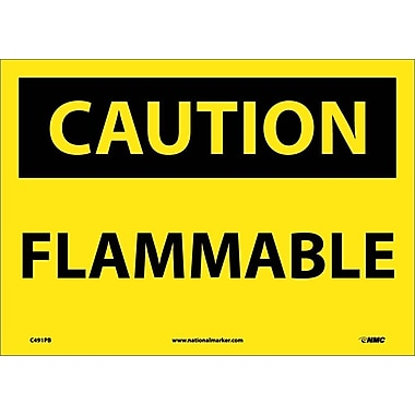 Caution, Flammable, 10X14, Adhesive Vinyl