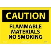 Caution, Flammable Materials No Smoking, 10X14, Adhesive Vinyl