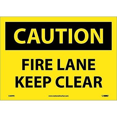 Caution, Fire Lane Keep Clear, 10X14, Adhesive Vinyl