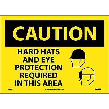 Caution, Hard Hats And Eye Protection Required In This Area, Graphic, 10X14, Adhesive Vinyl