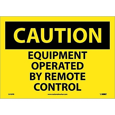Caution, Equipment Operated By Remote Control, 10X14, Adhesive Vinyl