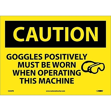 Caution, Goggles Positively Must Be Worn When Operating This Machine, Graphic