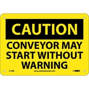 Caution, Conveyor May Start Without Warning, 7X10, Rigid Plastic