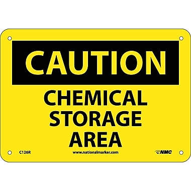 Caution, Chemical Storage Area, 7X10, Rigid Plastic