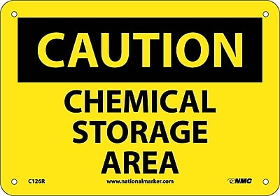 Caution, Chemical Storage Area, 7X10, Rigid Plastic