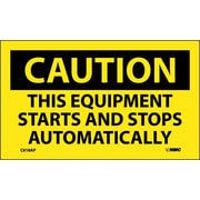 Caution, This Equipment Starts And Stops Automatically, 3X5, Adhesive Vinyl 5/Pk