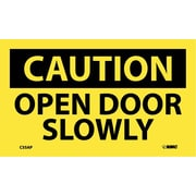 Caution, Open Door Slowly, 3X5, Adhesive Vinyl, 5/Pk