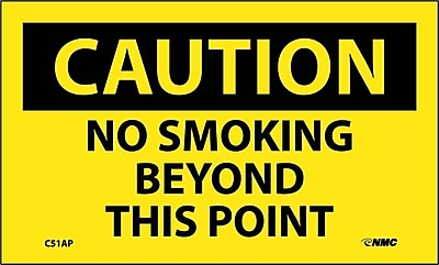 Caution, No Smoking Beyond This Point, 3X5, Adhesive Vinyl, 5Pk