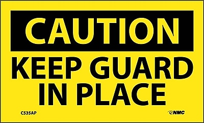 Caution, Keep Guard In Place, 3X5, Adhesive Vinyl 5/Pk