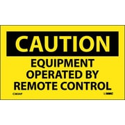 Caution, Equipment Operated By Remote Control, 3X5, Adhesive Vinyl, 5/Pk