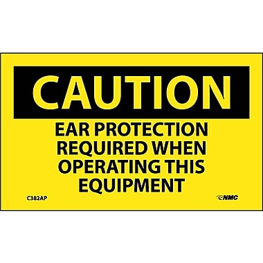 Caution, Ear Protection Required When Operating This Equipment, 3X5, Adhesive Vinyl, 5/Pk