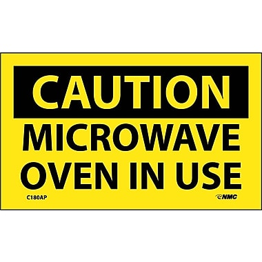 Caution, Microwave Oven In Use, 3X5, Adhesive Vinyl, 5/Pk