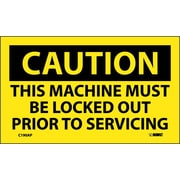 Caution, This Machine Must Be Locked Out Prior To Servicing, 3X5, Adhesive Vinyl, 5/Pk