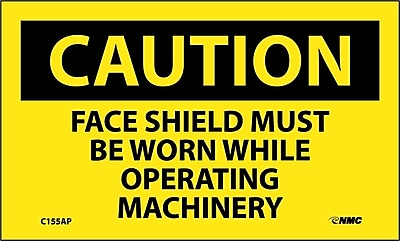Caution, Face Shield Must Be Worn While Operating Machinery, 3X5, Adhesive Vinyl, 5/Pk