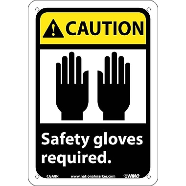 Caution, Safety Gloves Required with Graphic, 10