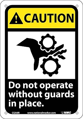 Caution, Do Not Operate Without Guards In Place (W/Graphic), 10X7, Rigid Plastic