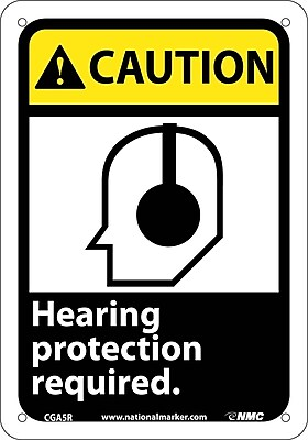 Caution, Hearing Protection Required (W/Graphic), 10X7, Rigid Plastic