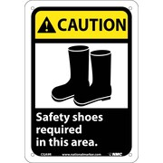 Caution, Safety Shoes Required In This Area (W/Graphic), 10X7, Rigid Plastic