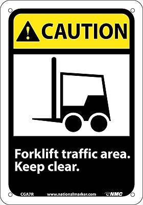 Caution, Forklift Traffic Area Keep Clear (W/Graphic), 10X7, Rigid Plastic