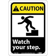 Caution, Watch Your Step (W/Graphic), 10X7, Rigid Plastic
