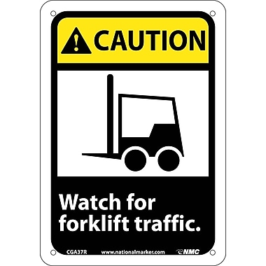 Caution, Watch For Forklift Traffic, (W/Graphic), 7X10, Rigid Plastic