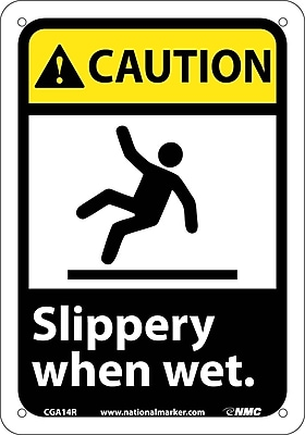 Caution, Slippery When Wet (W/Graphic), 10X7, Rigid Plastic