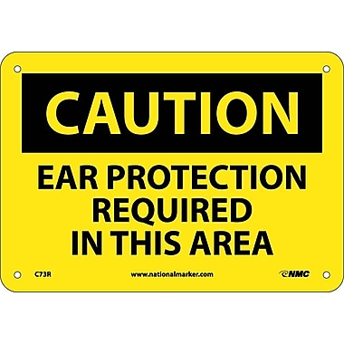 Caution, Ear Protection Required In This Area, 7X10, Rigid Plastic