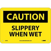 Caution, Slippery When Wet, 7X10, Rigid Plastic