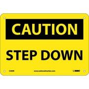 Caution, Step Down, 7X10, Rigid Plastic