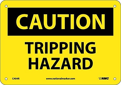 Caution, Tripping Hazard, 7X10, Rigid Plastic