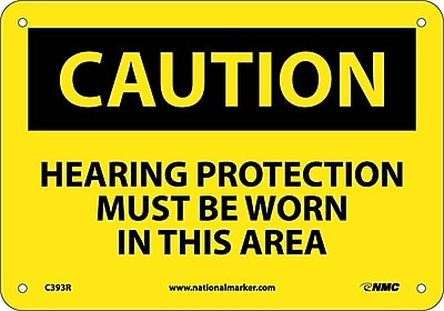 Caution, Hearing Protection Must Be Worn In This Area., 7X10, Rigid Plastic