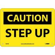 Caution, Step Up, 7X10, Rigid Plastic