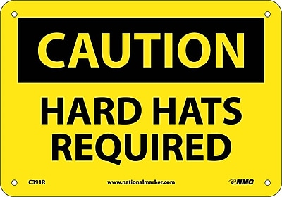 Caution, Hard Hats Required, 7X10, Rigid Plastic