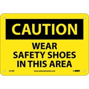 Caution, Wear Safety Shoes In This Area, 7X10, Rigid Plastic