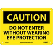 Caution, Do Not Enter Without Wearing Eye Protection, 7X10, Rigid Plastic