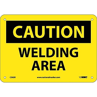 Caution, Welding Area, 7X10, Rigid Plastic