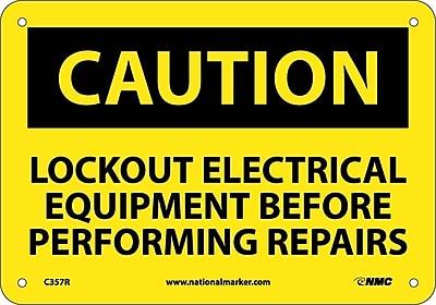 Caution, Lockout Electrical Equipment Before . . .., 7X10, Rigid Plastic