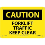 Caution, Forklift Traffic Keep Clear, 7X10, Rigid Plastic