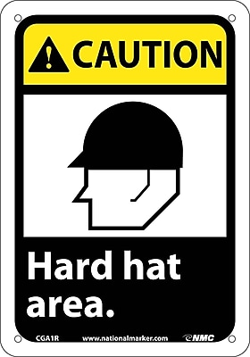 Caution, Hard Hat Area (W/Graphic), 10X7, Rigid Plastic