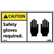 Caution, Safety Gloves Required (Graphic), 3X5, Adhesive Vinyl, 5/Pk